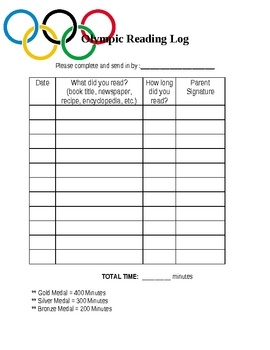 Have your students participate in a READING OLYMPICS!! The students will try to reach a goal for a bronze, silver, or gold medal depending on how m...