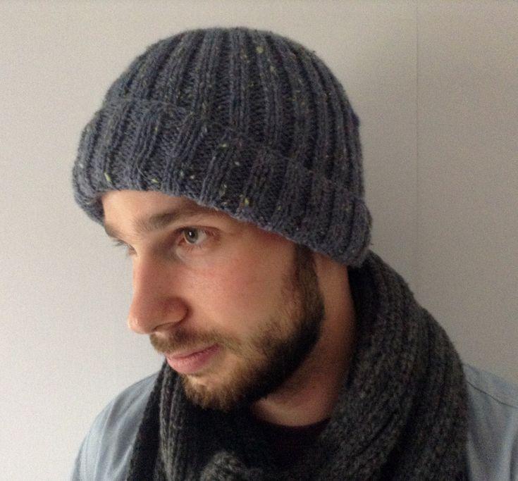 Bonnet Homme Gris Chiné Tricoté main côtes 2/2 Laine Alpaga Viscose Mode tendance : Autres mode homme par la-p-tite-mimine