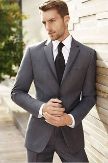Dark gray suit white shirt and black tie for groom and groomsmen