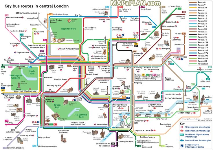 London top tourist attractions map Key bus routes by tourist attractions in central London