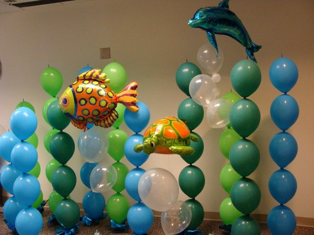 Best 473 underwater under the sea party ideas images on for Balloon backdrop decoration