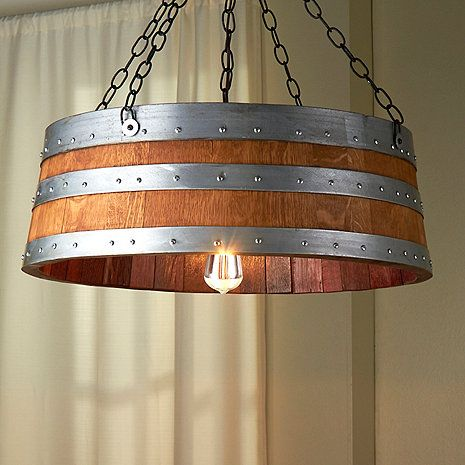 Wine Barrel Top Light $495 - made from retired French Oak wine barrels - unique - no two are alike