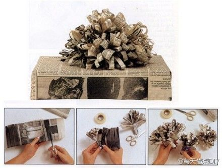 make pom pom with news paper for gift wrapping