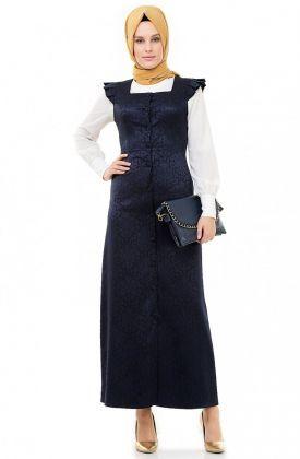 Nursima Jakarlı Jile Elbise-Lacivert ARM481-17