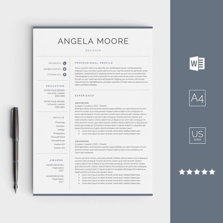 Resume template for Word Instant download CV
