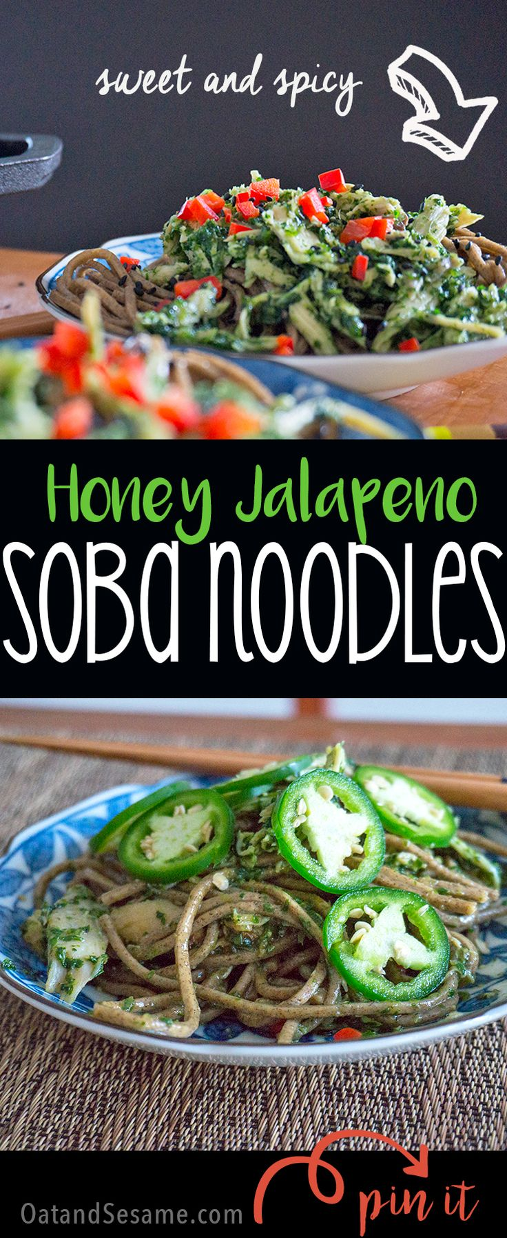 Honey-Jalapeño Chicken with Soba Noodles - sweet and spicy noodle dish with rotisserie chicken and a honey jalapeño cilantro sauce all under 30 minutes! | CHICKEN | DINNER | UNDER 30 | ASIAN | NOODLES | Recipe at OatandSesame.com