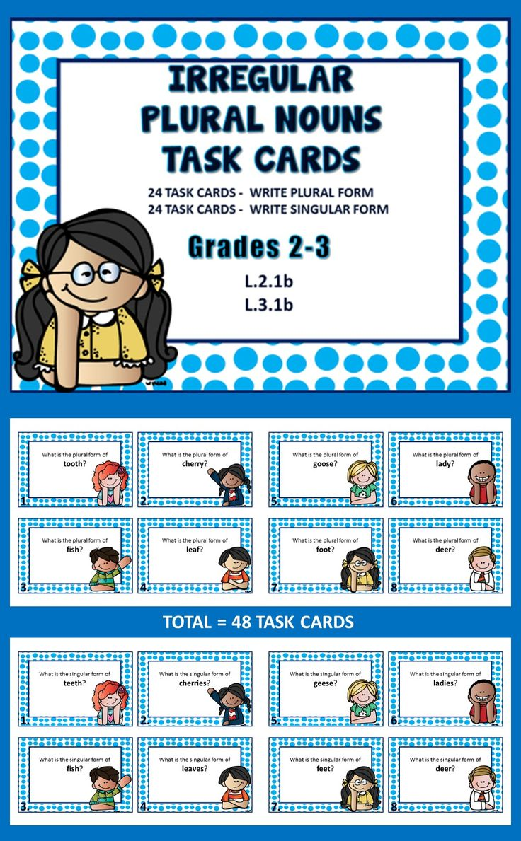 Irregular Nouns Task Cards (48) 24 task cards - write plural form of noun when given the singular form 24 task cards - write singular form of noun when given plural form 48 cards - 24 nouns used... grades 2-3  ($3.00)