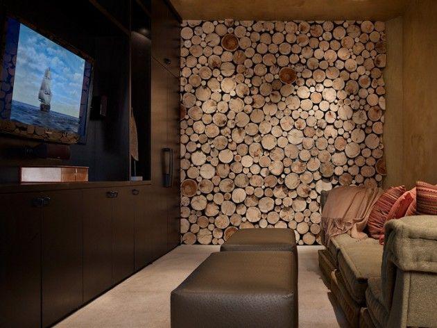 Resultado de imagen para como decorar una pared con cortes de madera redondos