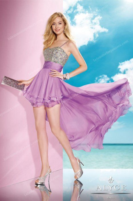 Elegant Orchid Dreams High Low Homecoming Gown by Alyce Paris 35586