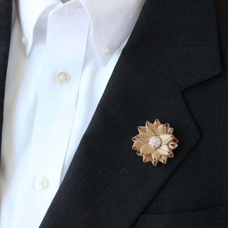 Small Lapel Flower for Men Gold Lapel Flower Gold Boutonniere Mens Lapel Flowers Mens Flower Lapel Pin Grooms Flower Gift for Him