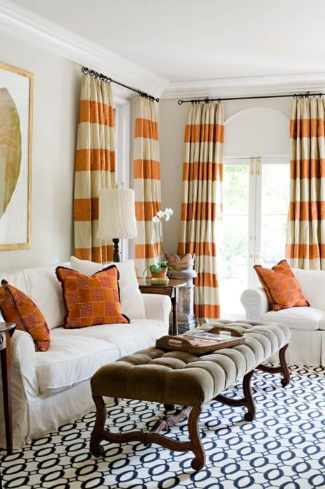 love it all.Orange, Ideas, Living Rooms, Colors, Livingroom, Stripes Curtains, Rugs, Striped Curtains, Windows Treatments