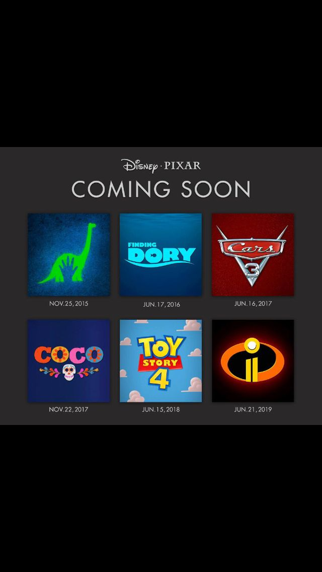 Disney Pixar announced the new official movies coming out in 2015 2016 2017 2018 and 2019