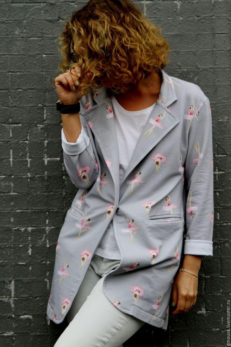 Купить Пиджак трикотажный БАЛЕРИНЫ - серый, рисунок, пиджак, пиджак женский, трикотаж, жакет