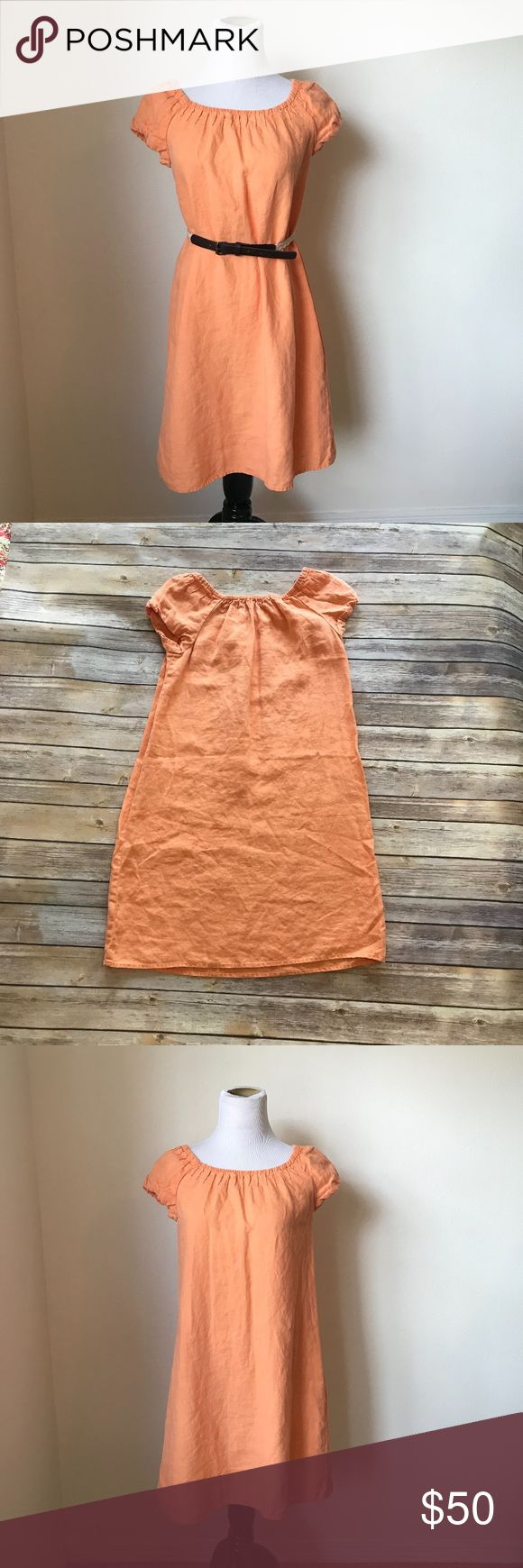 Tommy Bahama Orange Linen Dress Fun and summer orange linen dress from Tommy Bahama.  Loose fitting and flowy but add a belt and you can define your waistline.  Has elastic scoop neckline and cap sleeves.  Belt not included.  Comes from a smoke and pant free home.  Measurements and Size to come shortly. Tommy Bahama Dresses Midi