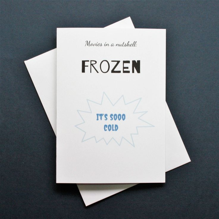 Funny Frozen card, funny Frozen movie card, Frozen film card, British humour card, Movies in a nutshell by Designerpoems on Etsy