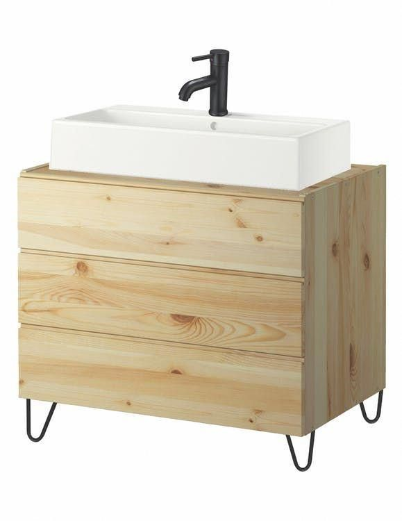How To Hack Ikea Ivar Storage Into A Bathroom Vanity Apartment Therapy Bathroomshe Small Bathroom Vanities Bathroom Vanity Makeover Rental Bathroom Makeover