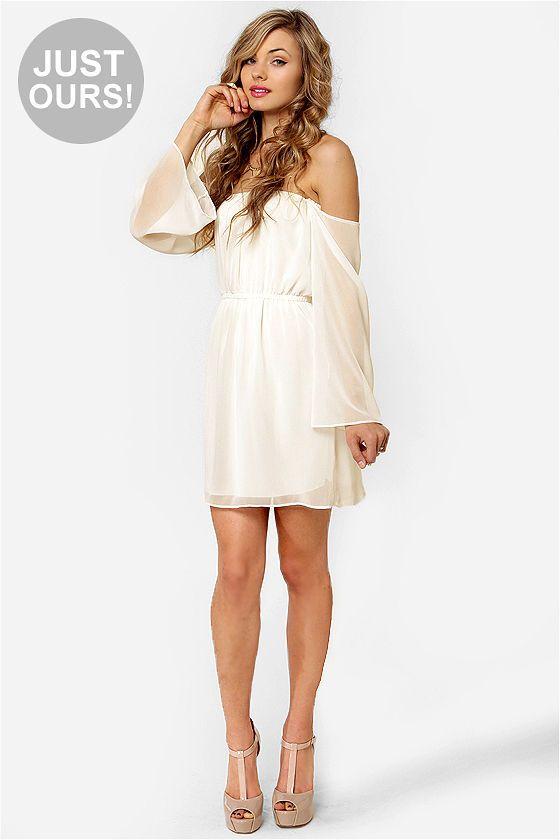 LULUS Exclusive Maiden Heaven Off-the-Shoulder Ivory Dress