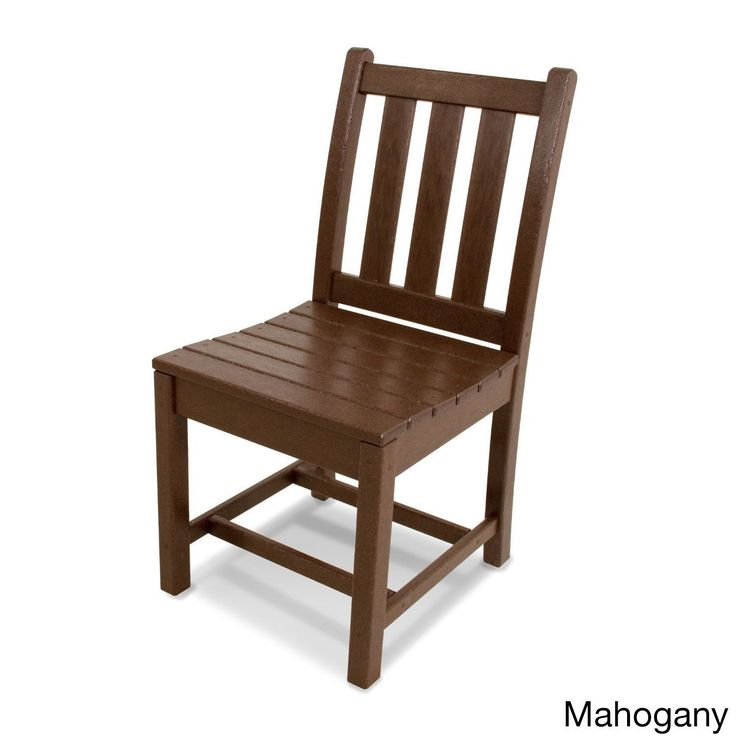 Elegant Polywood Traditional Polywood Garden Dining Side Chair Mahogany Brown Patio Furniture