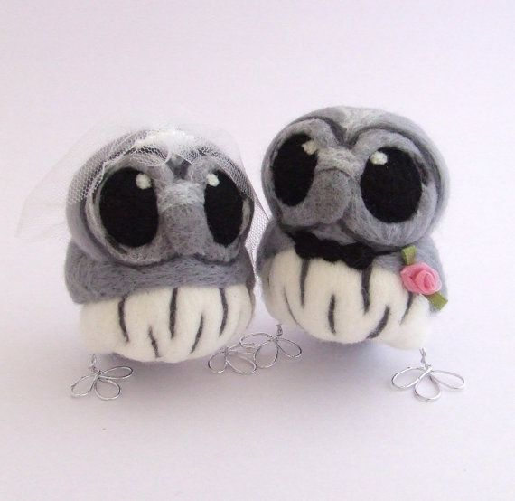 Grey Owl Wedding Cake Topper Bride and Groom by feltmeupdesigns, £62.00