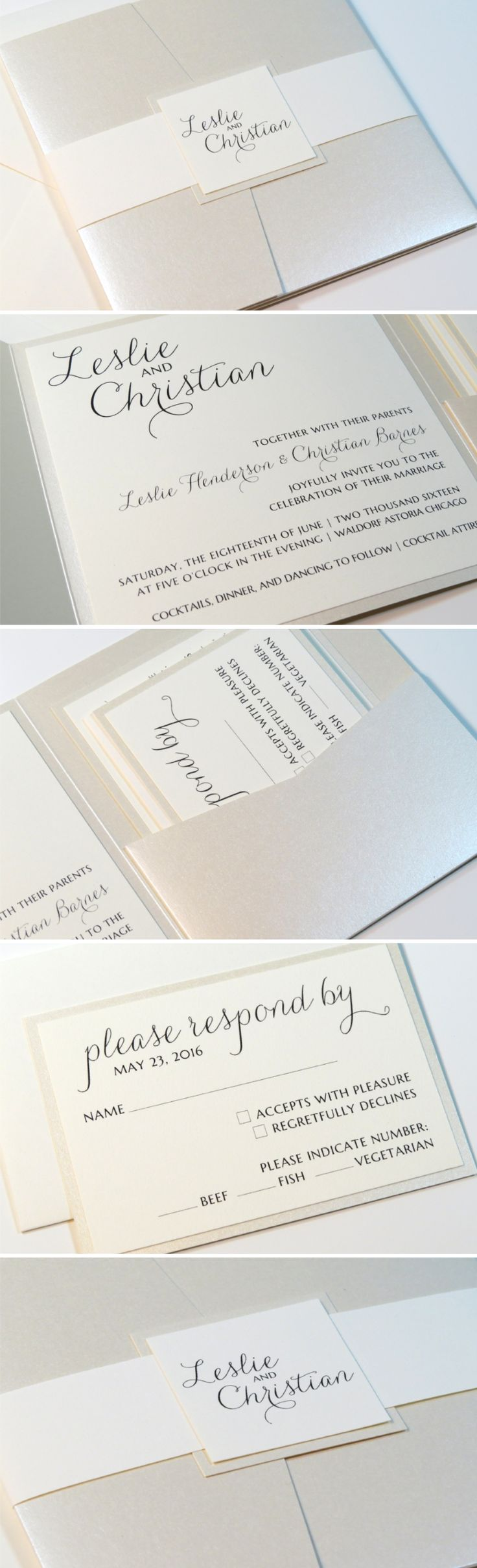 Romantic Cream Opal Champagne Ivory Wedding Invitation Suite Elegant Formal