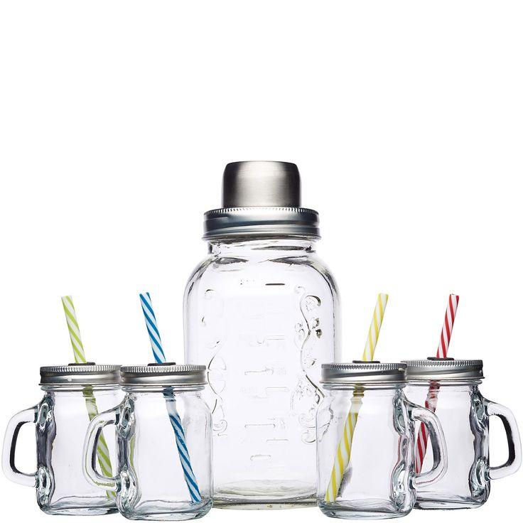 Shaker szklany i cztery minisłoiki z uchwytem Kitchen Craft