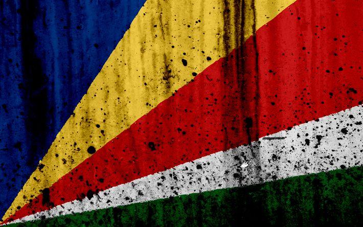 Download wallpapers Seychelles flag, 4k, grunge, flag of Seychelles, Africa, Seychelles, national symbols, Seychelles national flag