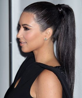 Kim Kardashian with a slicked-back ponytail, one of the most popular hairstyles of 2012. Check out the other top hairstyles that made the cut in 2012.