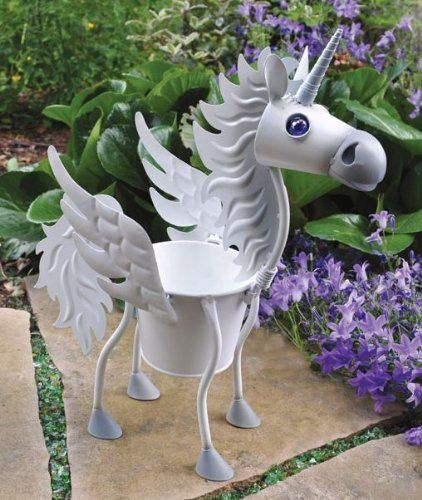 """Virginia the Unicorn indoor or outdoors (garden) décor plant stands. Holds 4"""" pots - 15"""" inches tall by Georgetown. $29.99. requires no tools for assembly. made of metal. stand alone. weather resistant finish. 4"""" pot and 15"""" tall. Virginia the unicorn is 15"""" tall and holds a 4"""" pot.  It is made of metal and has a weather resistant finish.  There are no tools necessary."""