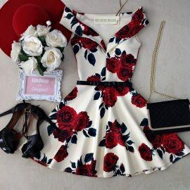 Vestido NEOPRENE C/ Bojo  Princesa Marisa ( Estampa  FUNDO OFF C/ ROSAS)