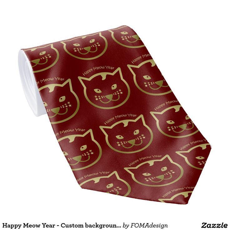 Happy Meow Year Tie! Faux gold cat face, with stars as mustaches. A perfect gift for Christmas and the new year. You may add the background color of your choice or leave it red as it is! #fomadesign