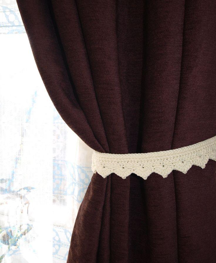 Curtain ties crochet Beige window decor Curtain holders Curtain holdbacks Curtain hold backs Curtain tiebacks Drapery Living room decor by CrochetedCosiness on Etsy