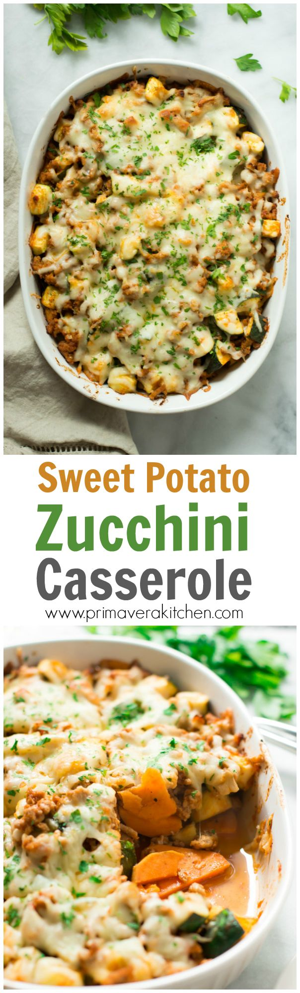 sweet-potato-zucchini-casserole - This Sweet Potato Zucchini Casserole recipe is incredible flavourful, gluten-free, easy to make and it'll be on your table in less than 30 minutes. It's also an one-pan meal loaded with protein, vitamins and nutrients.
