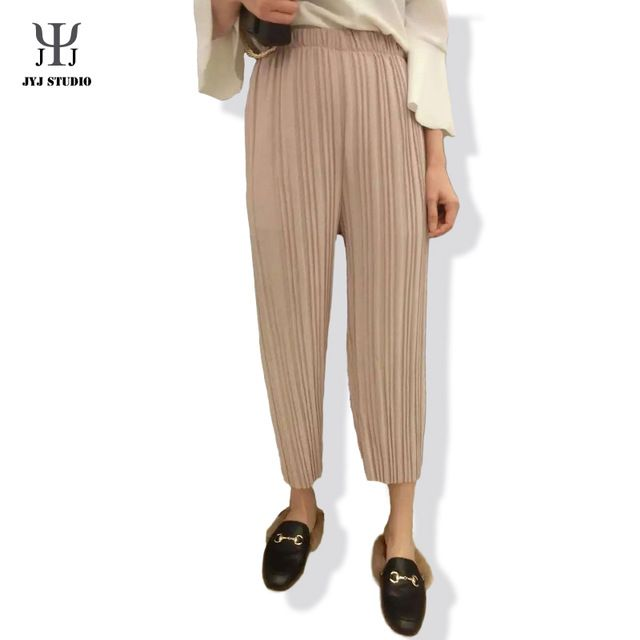 Black Pleated Trousers Pink White Wide-leg Pants Elastic Waist Loose Women Trousers Casual Pants High Waist Pleated Trousers