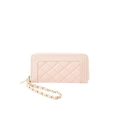 Pink Chain Wristlet Quilted Wallet