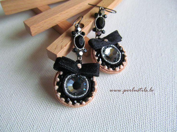 Soutache earrings handmade embroidered in by Ligita Līberte Jegorova