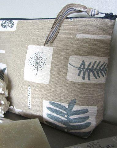 Linen Makeup Bag Smoke Blue & Lichen – Flax & Loom