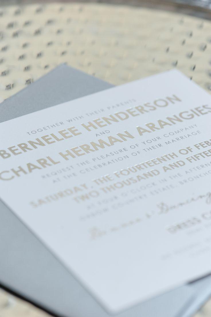 Minimalist wedding invitation design with silver foiling finishing touches www.creativeheroes.co.za