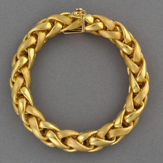 Ring Bracelet Chain: Large Gold Wheat Chain Bracelet