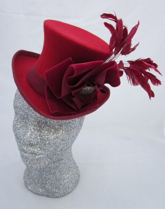 Red Feathery Mini Top Hat. Burlesque by sallyannecostumes on Etsy, £65.00