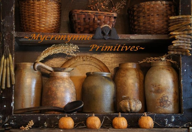 Sweet Autumn...olde crocks & baskets with mini pumpkins.