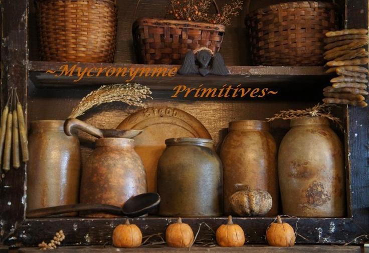 Sweet Autumn...olde crocks & baskets with mini pumpkins.