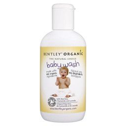 Bentley Organic Baby Wash with Aloe Vera, Chamomile and Lavender  Made with 85% organic ingredients. Suitable for hair and body this mild babywash contains soothing Aloe Vera, with Chamomile and Lavender to gently refresh your baby's skin.