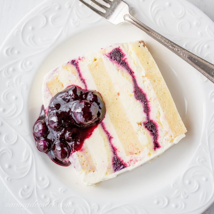 Blueberry-Lemon Icebox Cake - tender pound cake layered between fluffy lemon curd mascarpone cream and fresh blueberry sauce for a wonderful frozen dessert