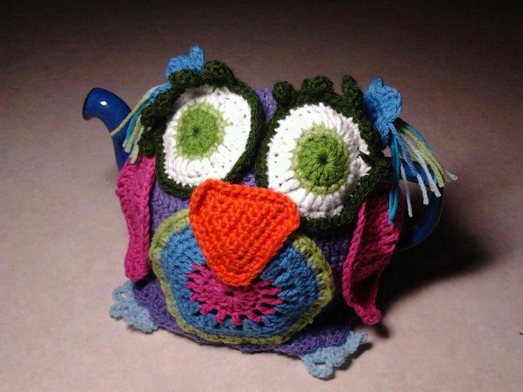 An crochet owl tea cosy I designed and made
