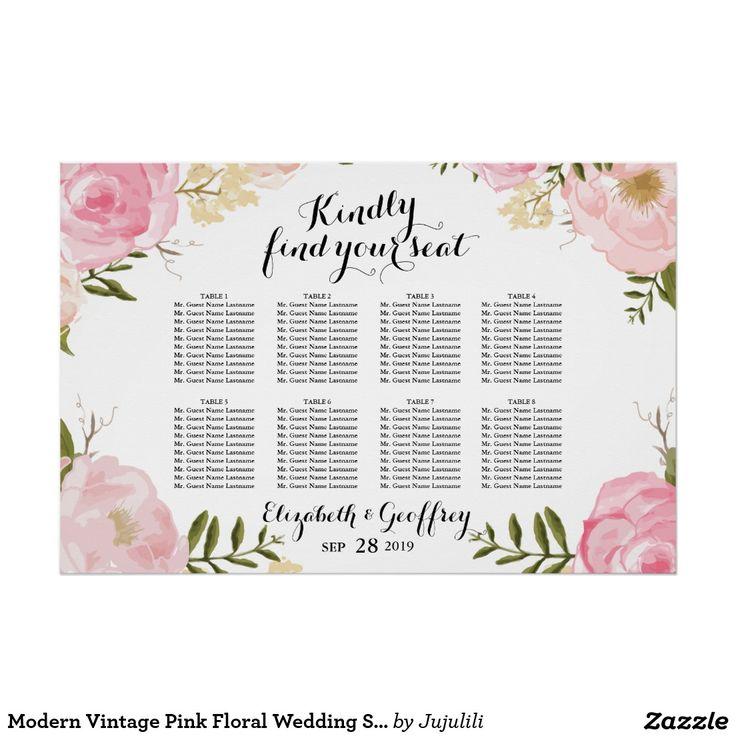 Modern Vintage Pink Floral Wedding Seating Chart Poster
