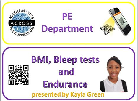 Our PE Maths Champion explains BMI, Bleep tests and Endurance in a ppt, with a link to a specially prepared IPAD 'Show Me' video clip. TAR