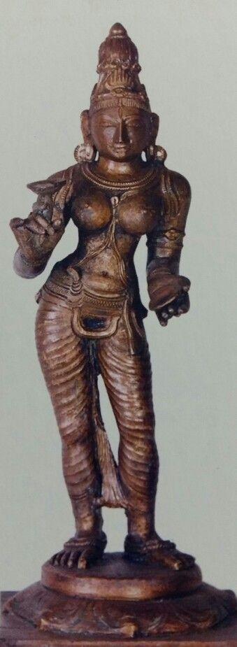 """""""Devi"""" ( Goddess ). Bronze Figure from Kerala.  15th Century AD. Thiruvananthapuram Museum, Kerala."""