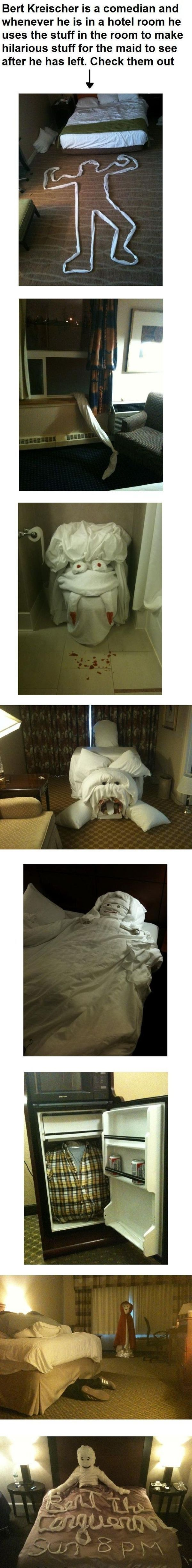 Several very funny ways to scare the crap out of hotel maids... using laundry.: Buckets Lists, Hotels Maids, Pranks, Funny Stuff, Funnies, Humor, Scared Hotels, So Funny, Hotels Rooms