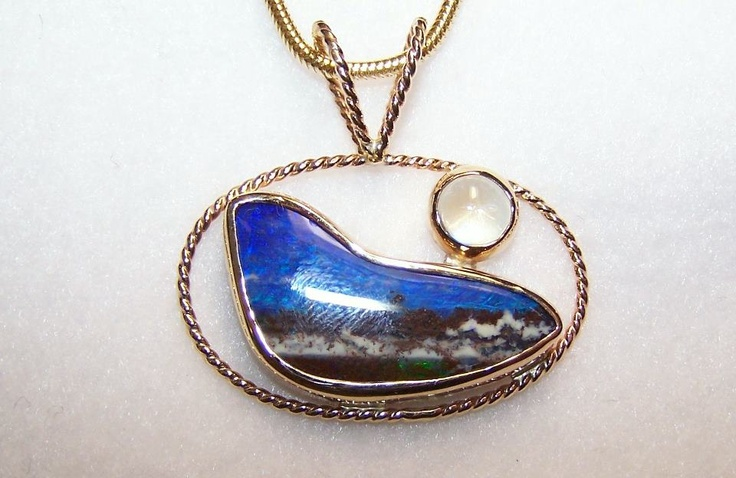 Australian Boulder Opal and Moonstone Yellow Gold Pendant