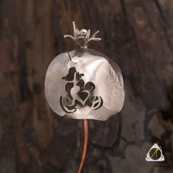 Hand carved mixed metal art pomegranate sculpture, housewarming gift, good luck charm, home decor, Greek folklore